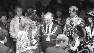 May 18th 1982, . Princess Diana opens the Albany centre in Deptford. with mayor of Lewisham John Henry