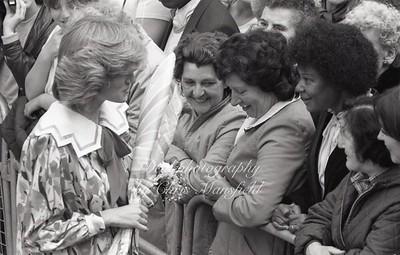 1985 . Princess Diana visits Deptford