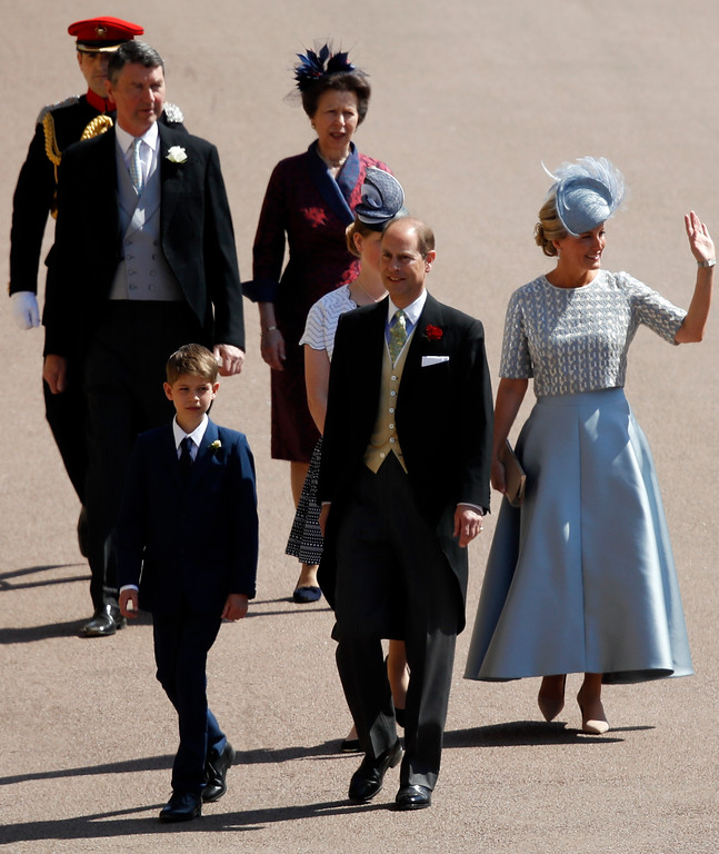 . Britain\'s Prince Edward, center left,  Sophie, Countess of Wessex, right, James, Viscount Severn, left, and Lady Louise Windsor, second right, followed by Britain\'s Princess Anne, top right, and Vice Admiral Timothy Laurence arrive for the wedding ceremony of Prince Harry and Meghan Markle at St. George\'s Chapel in Windsor Castle in Windsor, near London, England, Saturday, May 19, 2018. (Odd Anderson/pool photo via AP)
