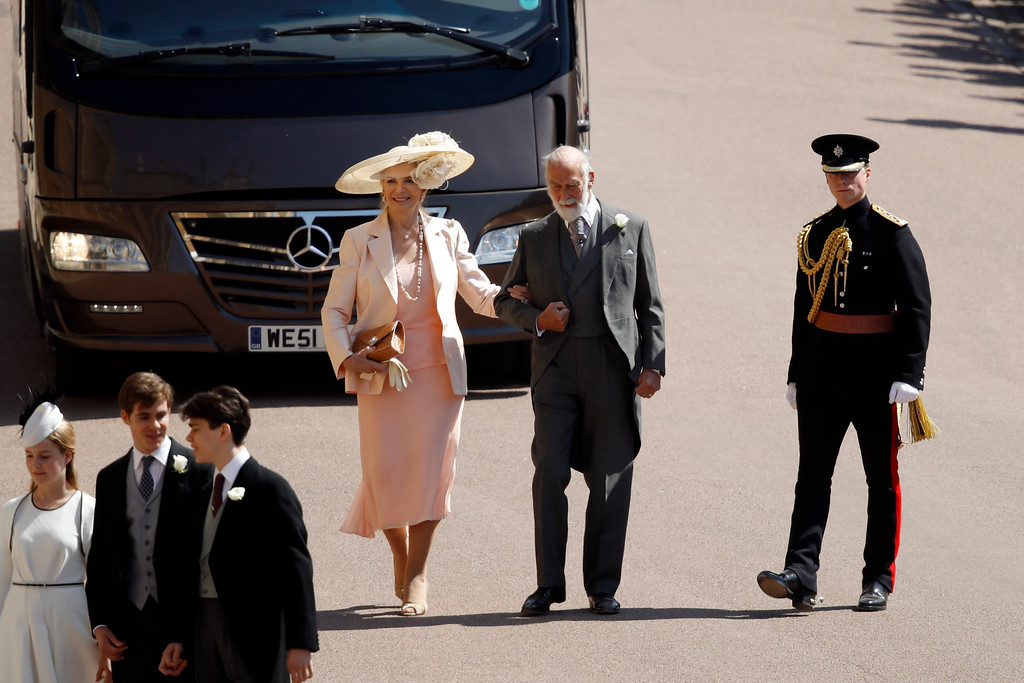 . Britain\'s Prince Michael of Kent, second right, and Britain\'s Princess Michael of Kent arrive for the wedding ceremony of Prince Harry and Meghan Markle at St. George\'s Chapel in Windsor Castle in Windsor, near London, England, Saturday, May 19, 2018. (Odd Anderson/pool photo via AP)