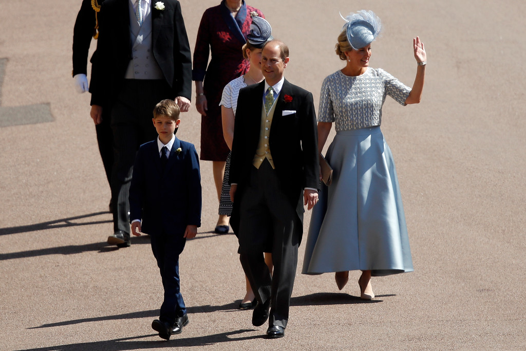 . Britain\'s Prince Edward, center, arrives with Britain\'s Sophie, Countess of Wessex, and James, Viscount Severn for the wedding ceremony of Prince Harry and Meghan Markle at St. George\'s Chapel in Windsor Castle in Windsor, near London, England, Saturday, May 19, 2018. (Odd Anderson/pool photo via AP)
