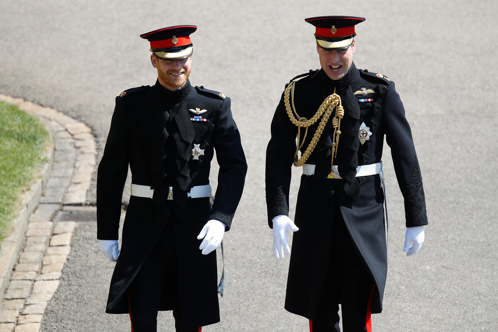 . Britain\'s Prince Harry and best man Prince William arrive for the wedding ceremony at St. George\'s Chapel in Windsor Castle in Windsor, near London, England, Saturday, May 19, 2018. (Odd Anderson/pool photo via AP)