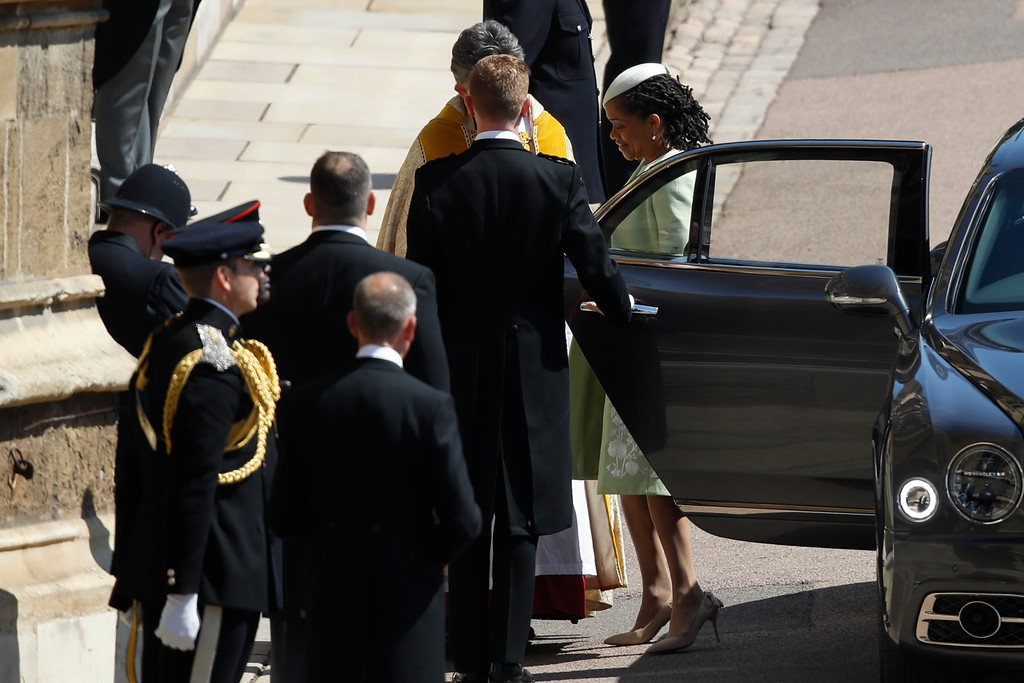 . Doria Ragland arrive for the wedding ceremony at St. George\'s Chapel in Windsor Castle in Windsor, near London, England, Saturday, May 19, 2018. (Odd Anderson/pool photo via AP)