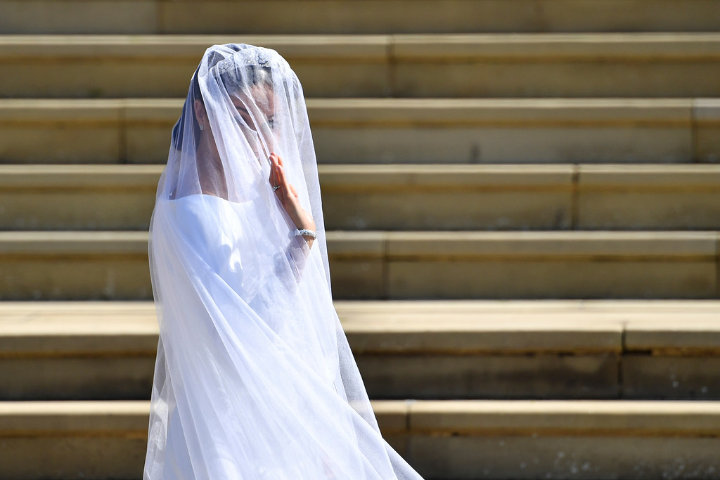 . Meghan Markle arrives for her wedding at St. George\'s Chapel in Windsor Castle in Windsor, near London, England, Saturday, May 19, 2018. (Ben Stansall/pool photo via AP)