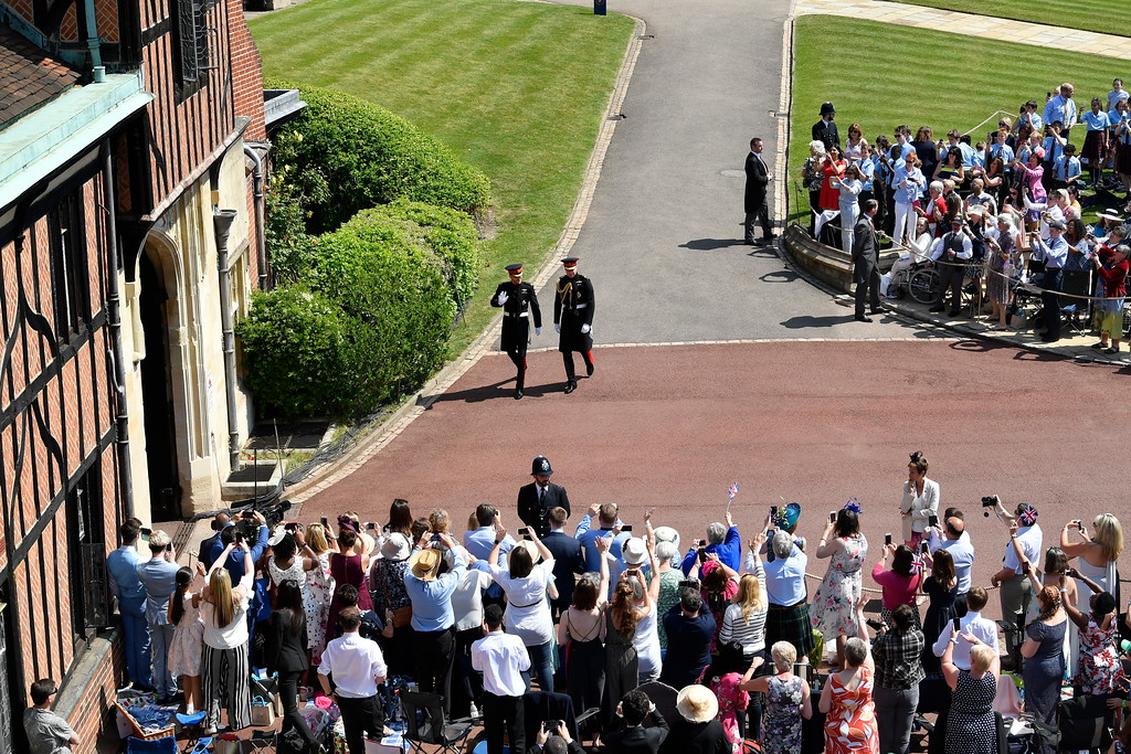 . Britain\'s Prince Harry and Prince William arrive for the wedding ceremony at St. George\'s Chapel in Windsor Castle in Windsor, near London, England, Saturday, May 19, 2018. (Toby Melville/pool photo via AP)