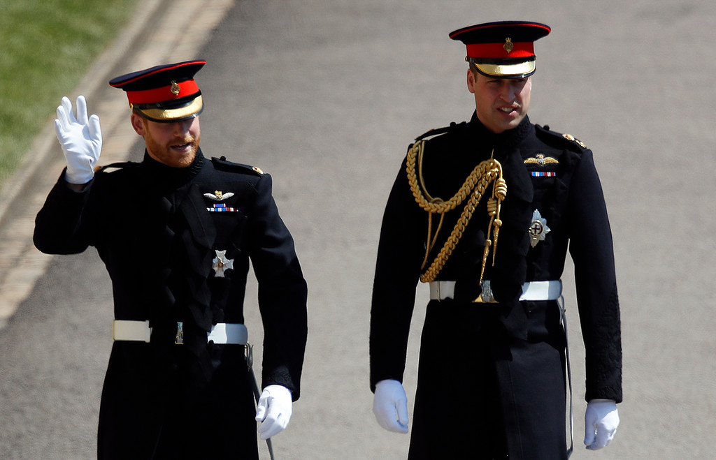 . Britain\'s Prince Harry, left, and best man Prince William arrive for the wedding ceremony at St. George\'s Chapel in Windsor Castle in Windsor, near London, England, Saturday, May 19, 2018. (Odd Anderson/pool photo via AP)