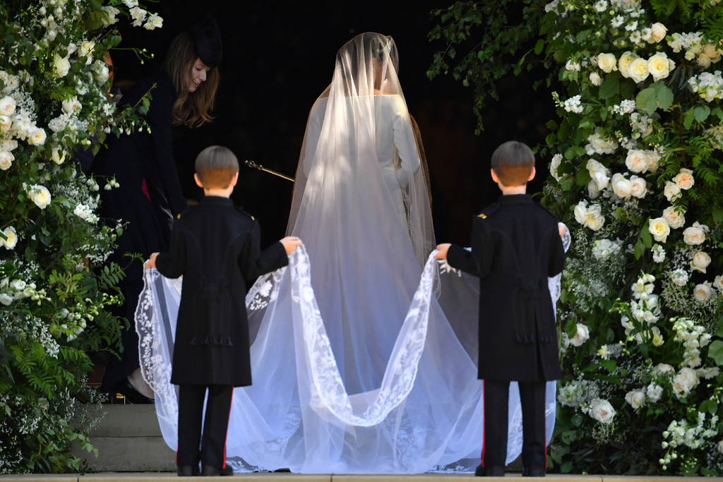 . Meghan Markle arrives for her wedding ceremony at St. George\'s Chapel in Windsor Castle in Windsor, near London, England, Saturday, May 19, 2018. (Ben Stansall/pool photo via AP)