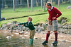 Prince Charles teaches Prince Harry to Fly-fish on Balmoral Estate. Exclusive picture © Lesley Donald