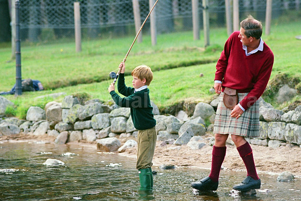 Prince Charles teaches Prince Harry to Fly-fish on Balmoral Estate : Exclusive picture : © Lesley Donald
