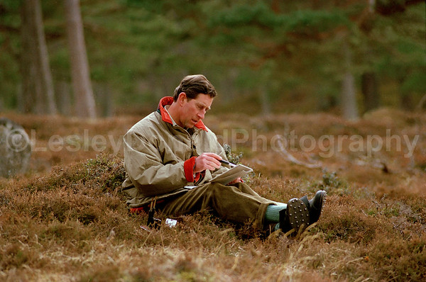 Prince Charles painting a watercolour of Lochnagar. Exclusive picture ©LesleyDonald