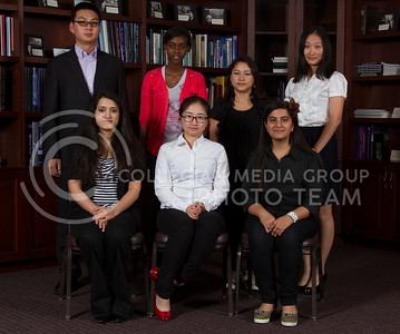 ICC International  Front row: Shagun Shaima, Yuxi Long, Cheshta Sehgal Back row: Bin feng Yang, Benita Mugabo, Prabha Bajracharya, Yichao Zhang  (Photo by Evert Nelson/Royal Purple)