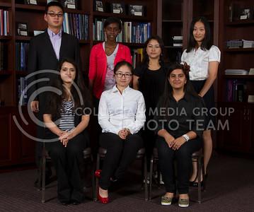 ICC International  Front row: Shagun Shaima, Yuxi Long, Cheshta Sehgal Back row: Bin feng Yang, Benita Mugabo, Prabha Bajracharya, Yichao Zhang  (Photo by Evert Nelson/Royal Purple)
