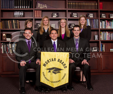 Mortar Board   Logan Blunk, Phillip Gomez, John Brant  Lauren Ehald, Margaret Weller, Andrea Fouts, Megan Coffroth   (Photo by Evert Nelson / Royal Purple)