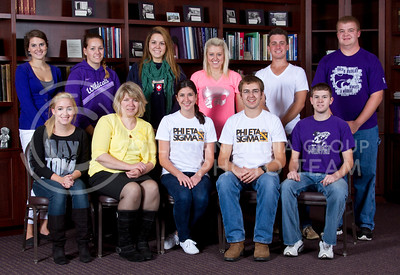 Pi Eta Sigma  Front row: Ashley Wunder, Monica Strathman, Cheyanne Alvarado, William Trueb, Jonathan Eden Back row: Jessica Eisenbarth, Shelby Smith, Lauren Boline, Kati Krieg, Brent Weaver, Jordan Strunk   (Photo by Evert Nelson/Royal Purple)