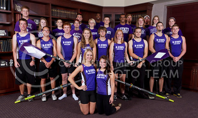 Rowing Team  1st row: Chelsey Glatz, Ellie Carter  2nd row: Kirk Dennis, Zachary Chappell, Jeremy Houser, Gabi Dawson, Charley Spencer, Ally Wilke, Wesley Good, Colt Sheffer, Eli Woerpel  3rd row: Jeremy Clinton, Mikaela Stockman, Dakota Cole, Jazmin Phillips, Taylor Suppes, Matt Vanausdall, Jon Faringthon, Ellen Kyriakos, Heather Scharping, Brielle Dorn 4th row: Josh Banwart, Ian Safford, Preston Zenuk, Scott Steffen (coach)   (Photo by Evert Nelson/Royal Purple)