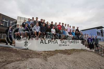 Alpha Tau Omega  Bottom Row (starting with the first guy sitting in the gray sweatshirt): Bryce Lob, Jacob Edwards, Mike Miller, Troy Klaassen, Matt Kieffer, Nate Kalberer, Alex McKean, Scott Louis, Patrick Bennett, Drew Unruh, Jake Cave, Ryan Mustain, Nick Gabel, Eric Carlson, Ryan Ferguson.  Top Row (starting with kansas state jersey): Kyle Kramer, Devin Rose, Joe Hund, E.J. Hiss, Andrew Fischer, Brett Lightle, David Biggs, Chris Gabel, Ryan Lingle, Brandon York, Miles Casey, Neil Haas, Jacob Pruitt, Drew Nuckolls, Vince Stewart, Jordan Carney, Dave Rathjen, Luke Schnefke, Brendan Carney  Guys on stairs (starting with grey Nike Sweatshirt): Kyle Heffern, Tanner Fox, Eli Shrock, Will Hammer, Trevor Petrie, Pat Keck