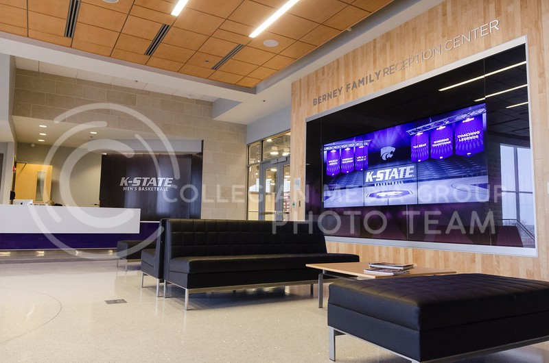 A large interactive video screen, on which guests can experience K-State basketball through such things as video tours, basketball history quizzes, and highlights of the program's greatest moments and players, greets visitors to the offices in the facility in the Berney Family Reception Center.