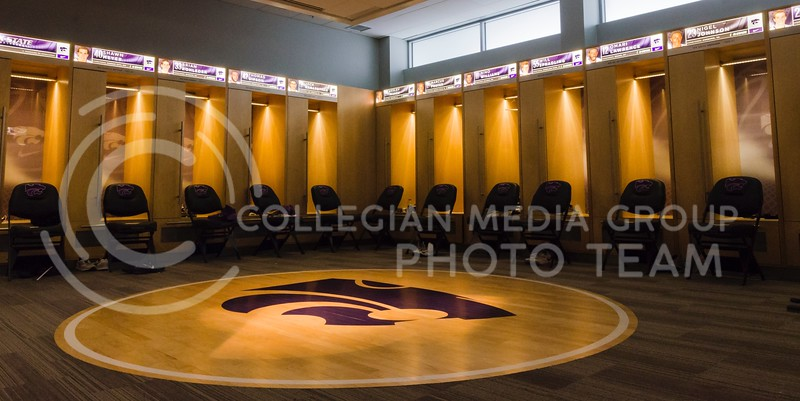 Custom-built wooden lockers, illuminated nameplates, and a replica jump circle round out the championship-worthy men's locker room, adjacent to which is a lounge area with several oversized leather chairs and flat-screen TVs, and a break room.