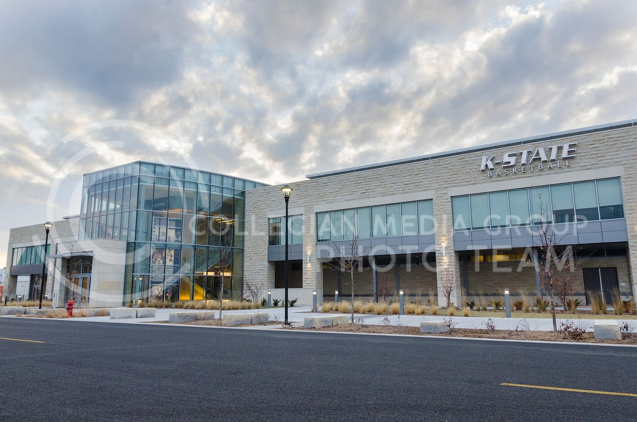 The architecture of the new K-State basketball training facility, completed in the fall of 2012, combines modern glass with the limestone exterior featured on buildings all across the K-State campus.