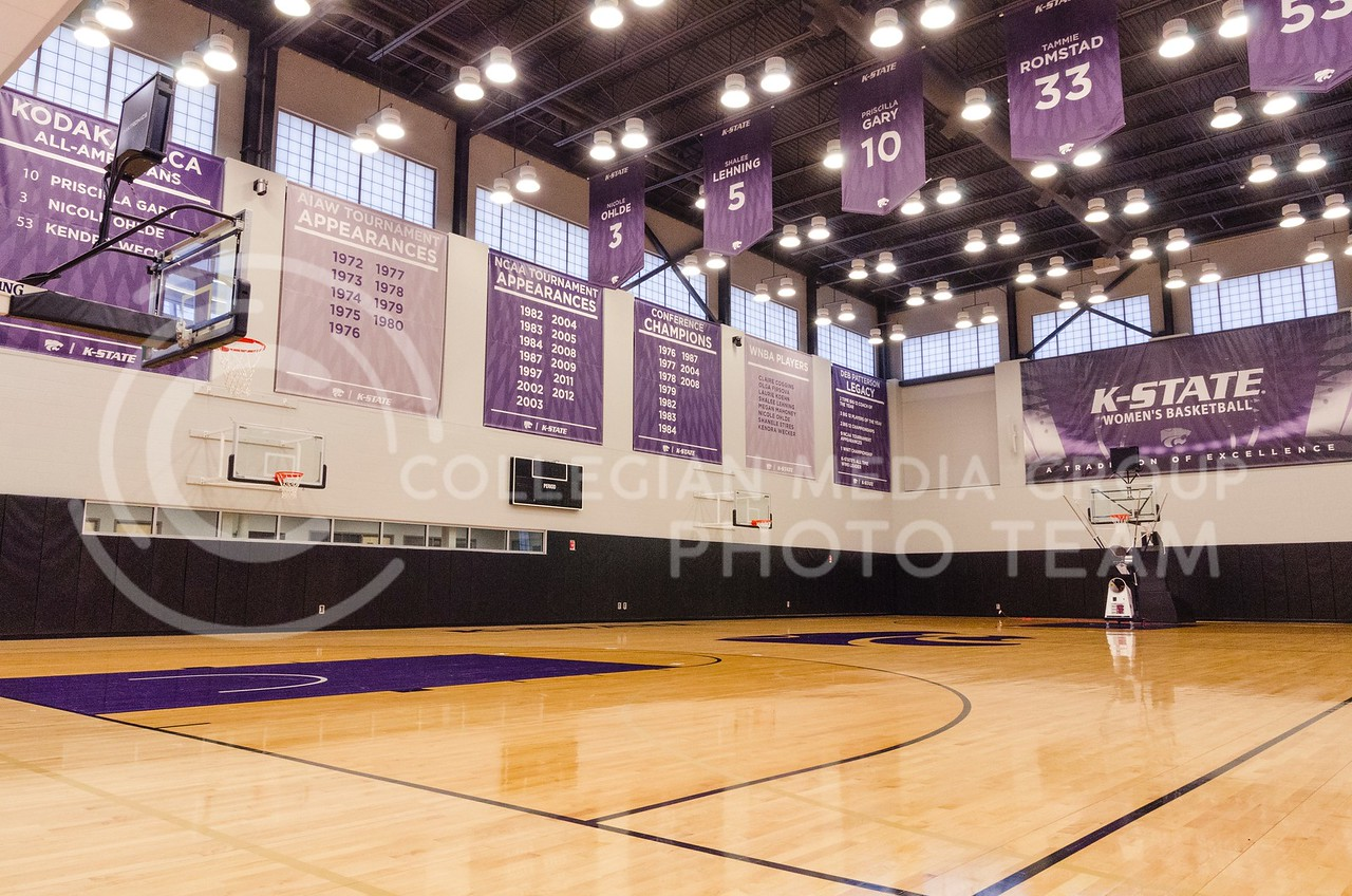 Banners featuring the accomplishments, traditions and people of K-State basketball line the walls and rafters of both practice courts.