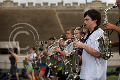 Wilks and the alto saxaphone section rehearsal music with the rest of the marching band during practice (in Memorial Stadium on Sept. 24, 2013). Photo by Hannah Hunsinger | Royal Purple