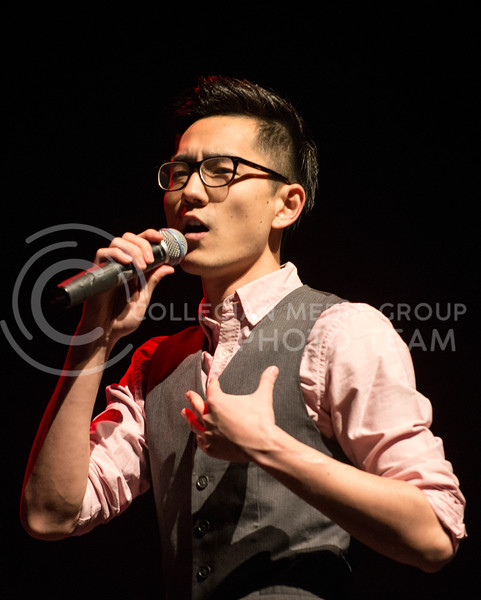 "Yichen Zheng, graduate student in chemistry, sings ""Song of the Dragon"" at Chinese Spring Festival on Feb. 11 in McCain."