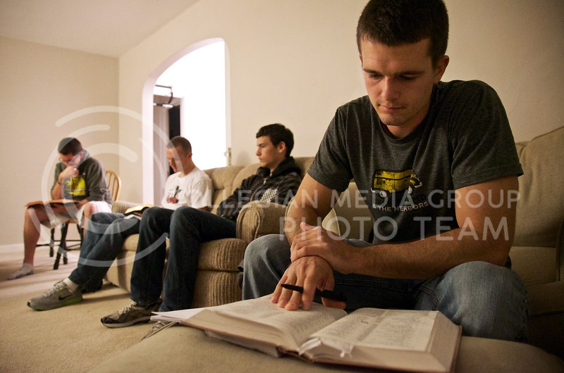Jake Theis, senior in accounting, digs into the Word at his LIFE Group Bible study Wednesday, October 23. LIFE Groups, which stands for Learning Biblical truth, Intercessory prayer, Fellowship, and Extending life, are the core of Christian Challenge.