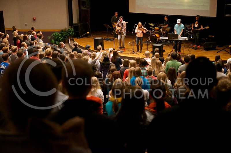 The entire Christian Challenge community gathers to worship at the central gathering on Thursday nights in Forum Hall in the K-State Student Union, this one on October 24.