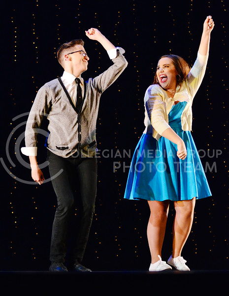 Katy Zapletal, K-State admissions representative, and Joey Boos perform 1960s jazz during season 6 of Dancing with the K-State Stars Tuesday evening in McCain Auditorium.