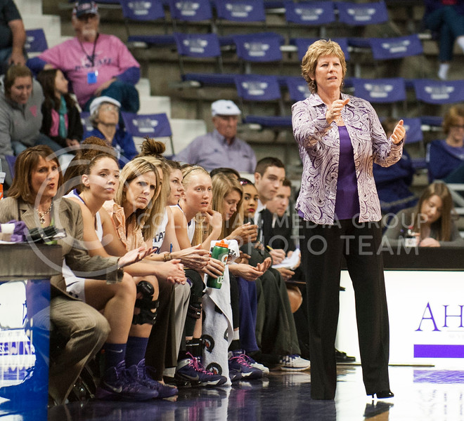 Head coach Deb Patterson directs her team from the sideline on February 22 in Bramlage Coliseum.