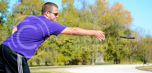 Tim Nispel, senior in mechanical engineering, launches his disc at the Cat Clash disc golf tournament at Fairmont Park November 9. Nispel finished the tournament in tenth place in the advanced classification.