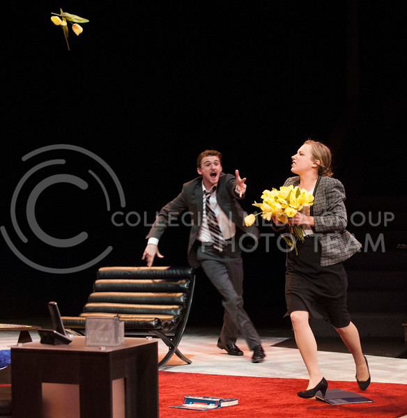 Annette, played by Dani Golway, sophomore in public relations, throws tulips as Alan, played by Clay Massingill, a freshman in theater, runs after her. The snow days last week meant the cast didn't have a final dress rehearsal for the approximatly hour-long show.