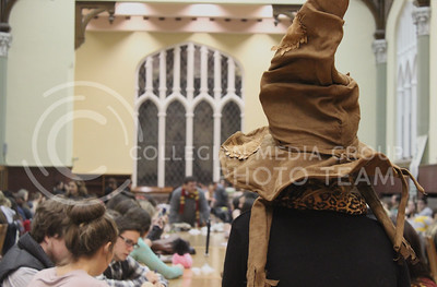 A view from the sorting hat stool from last night's Back to School Harry Potter Feast in the Great Room.  The sorting hat was one of the most popular and memorable options of last night's feast.