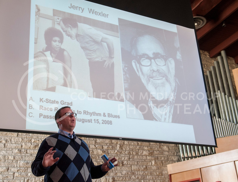 Professor Dr. Steven Maxwell talks about Jerry Wexler, a well known recording artist of the 1960's and a K-State grad, in his History of Rock and Roll class in All Faiths Chapel on March 12.
