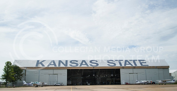 Planes sit parked in front of a hanger at K-State Salina Wednesday morning.