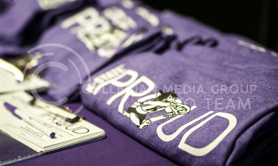 K-State Proud t-shirts on display for purchase on the K-State Proud table in the Union on Feb. 25.
