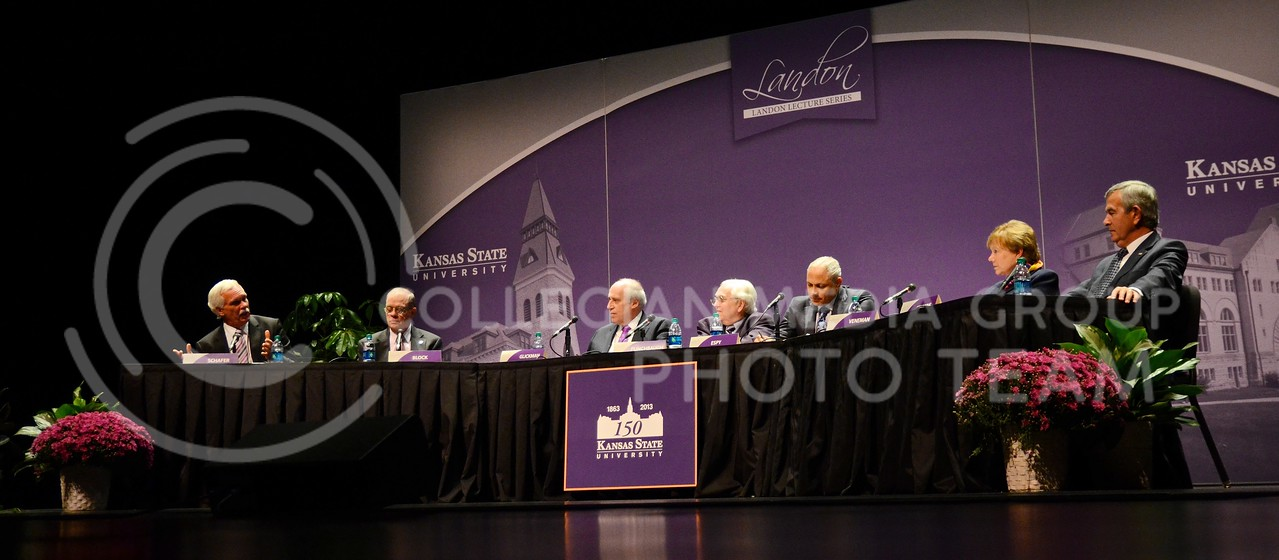 Edward Schafer (far left), former governor of North Dakota and U.S. Secretary of Agriculture from 2008-2009, describes how the U.S. should continue to invest in its wealth of available natural resources during the 163rd Landon Lecture on Public Affairs in McCain Auditorium Monday night. Seven former U.S. Secretaries of Agriculture participated in a panel discussion on issues the U.S. and the world currently face regarding agriculture.