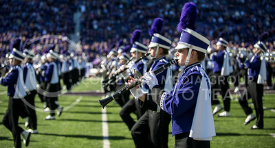 Photo by Hannah Hunsinger  The Pride of Wildcat Land Marches onto the field for the pre-game show at the football game against West Virginia on Oct. 26, in Bill Snyder Family Stadium.