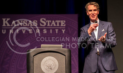 Renowned scientist and childerns' show host Bill Nye speaks about his dad's fascination with sun dials, the Mars rovers and climate change in Bramlage Coliseum last night.  His humorous lecture was followed by questions from the audience.