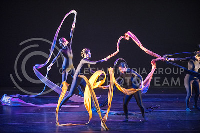 Members of the Lily Cai Chinese Dance Company perform with huge ribbons in their final dance during their performance in McCain Auditorium on Feb. 28.