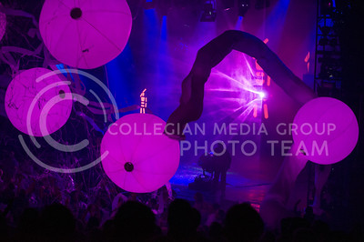 Audience members keep the colored balls aloft during Wednesday's Blueman Group performance at McCain.