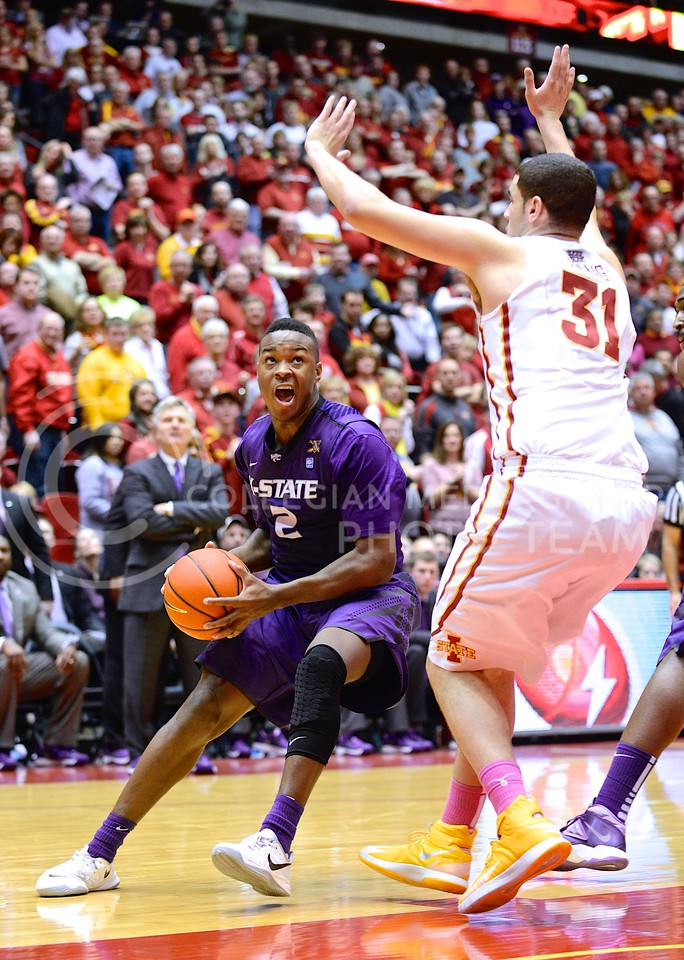 (Photo by Parker Robb | Collegian)<br /> <br /> Freshman forward Marcus Foster prepares to go up for one of several missed jumpers during the second half of K-State's 81-75 loss to the Cyclones January 25, 2014, in Hilton Coliseum in Ames, Iowa.