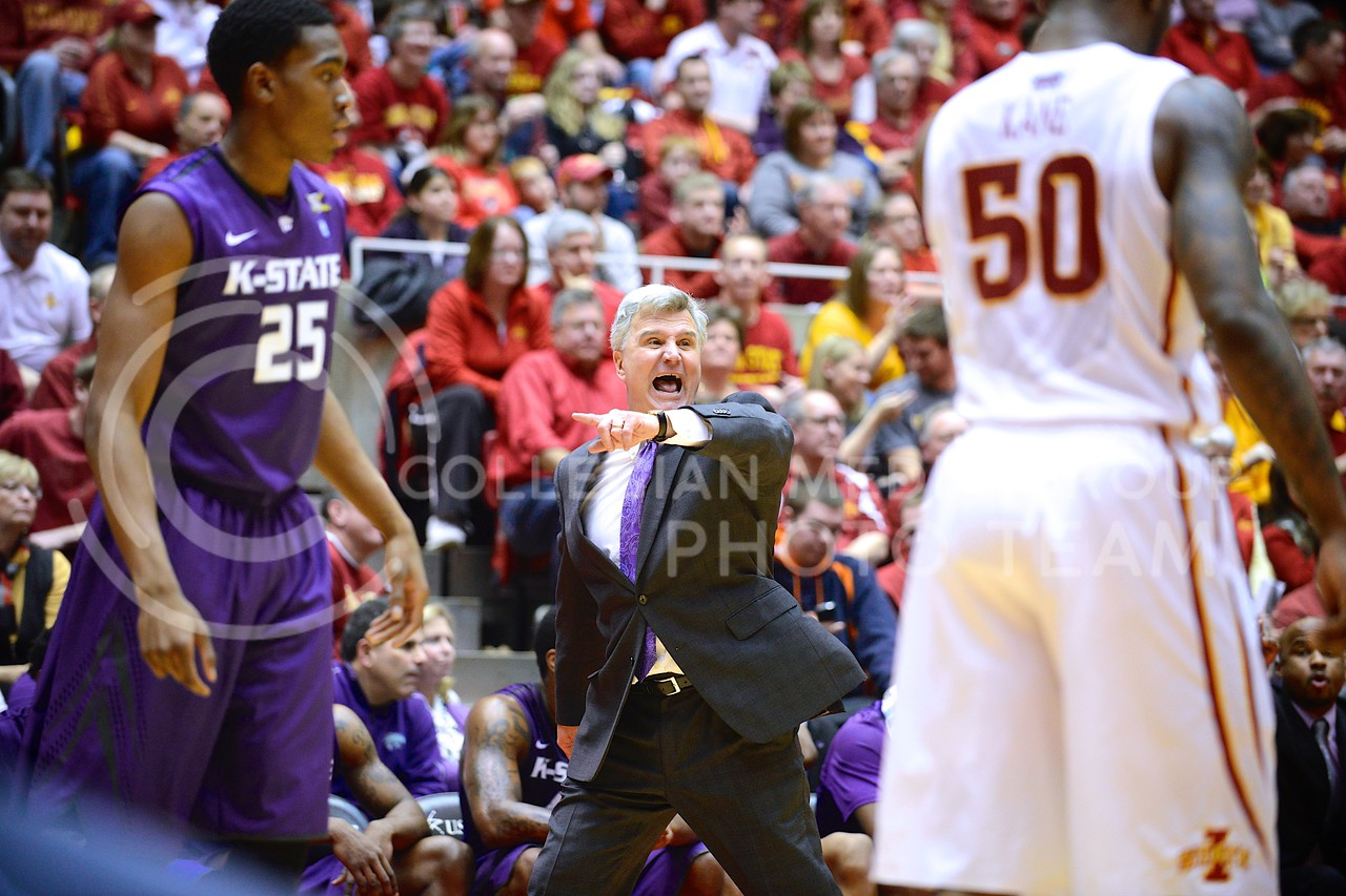 (Photo by Parker Robb | Collegian)<br /> <br /> Head coach Bruce Weber yells directions at his team during the second half of K-State's 81-75 loss to the Cyclones January 25, 2014, in Hilton Coliseum in Ames, Iowa.