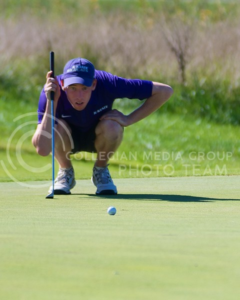K-State freshman Seth Smith studies a putt during the Jim Colbert Intercollegiate at Colbert Hills Golf Club on  October 1, 2013.  K-State finished in second place behind Sam Houston State, losing by just two strokes.