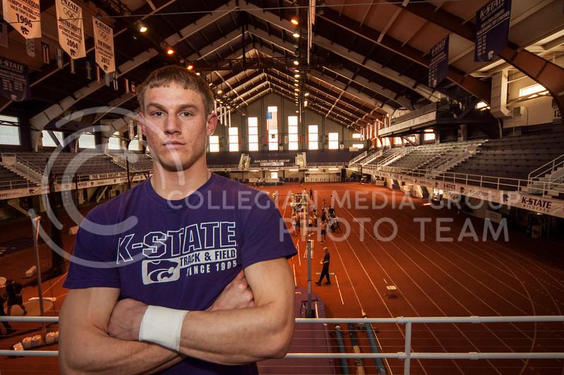 Kyle Wait, senior pole vaulter, poses in Ahearn field house on Feb. 18.