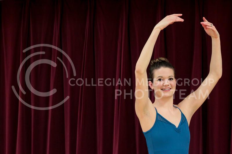 Meredith Dodd poses in Ballet studio in Nichols Hall.