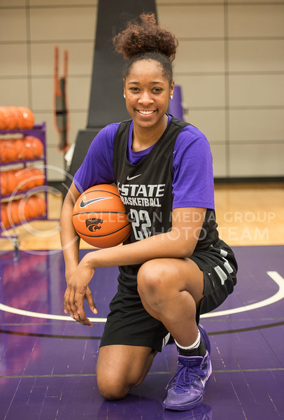 Junior center Breanna Lewis poses for a shot on Jan. 26, 2016 at Ice Family Basketball Center.  As of Feb. 1, 2016 Lewis is averaging 16.8 points per game and has a total of 53 blocks overall.  (Rodney Dimick | The Collegian)