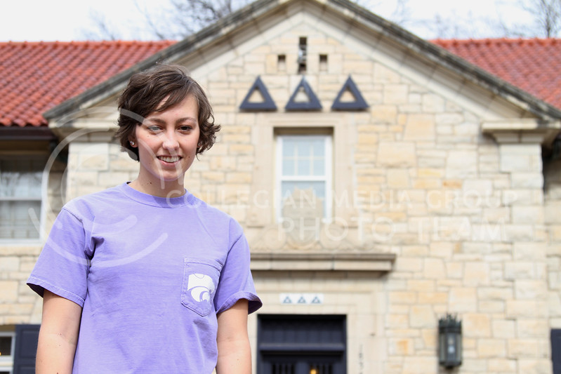 Carly Gassman, sophomore in philosophy, stands outside of her Tri-Delta sorority on Feb. 19.