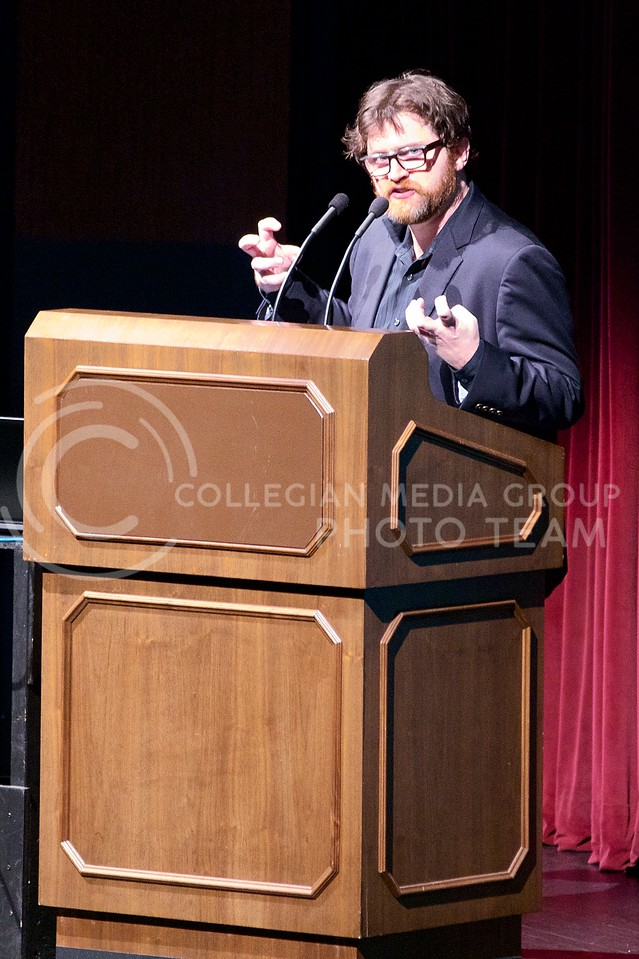 Ernest Cline, the author of Ready Player One, speaks to a large audience of K-State students and faculty, at McCain Auditorium  on Thursday night, about his life and the stories behind his writings.  Ready Player One was the 2013 common book for the K-State Book Network.