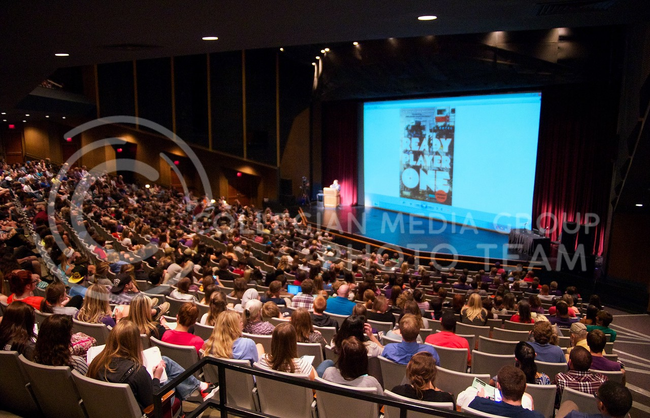 """McCain Auditorium was packed on Thursday night with K-State students and faculty who came to listen to Earnest Cline speak.  Ernest Cline is the author of the book """"Ready Player One"""", which is the K-State Book Network's common book for 2013."""